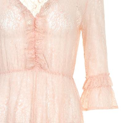 frill detail lace long dress pink